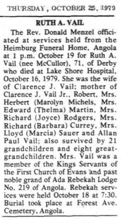 Obituary of Ruth (McCullor) Vail, Evans Journal, Angola, New York, Thursday, October 25, 1979