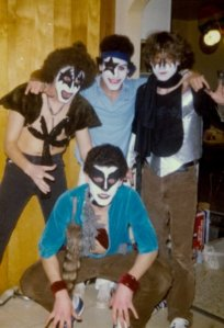 My friends and I circa 1982 as Kiss. I'm painted as Ace Frehley.