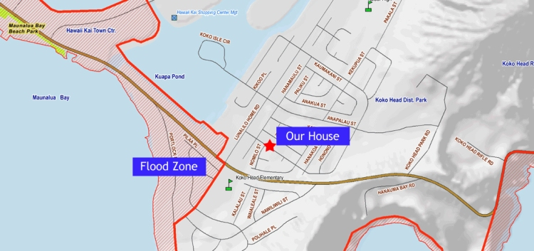 Tsunami Evacuation Zone from The City and County of Honolulu Department of Emergency Management