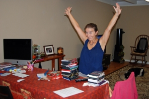 Christine packing her valuables: the DVD collection