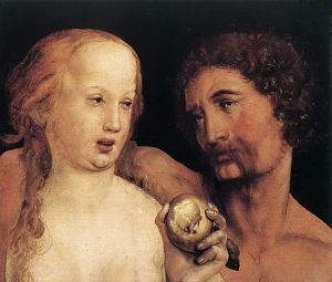Adam and Eve (1517), color on paper mounted to pine wood, by Hans Holbein the Younger