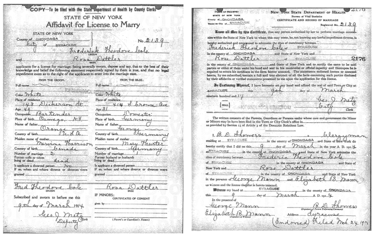 Marriage certificate for Frederick Theodore Cole and Rose Beatrice Dattler.