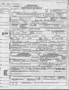 Death certificate for Howard Theodore Cole