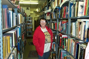 Mom in her natural habitat: Oracle Junction Books in Kenmore, New York (2001).
