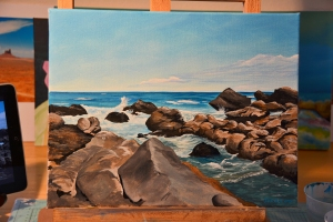 Acrylic painting based on photograph from Sandy Beach on Oahu, Hawaii.