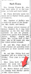 My grand uncle, from Canada, visits with my great grandmother from Evans, New York (Evans Journal, 1954)