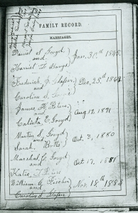 Bible record from the Hinton/Fischer family bible