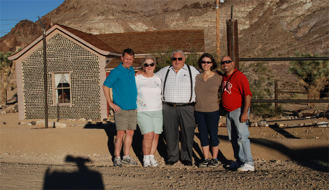Dean meets up with the Cole and Daigle families at the Rhyolite ghost town in Rhyolite, Nevada (2010).